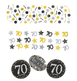 70th Birthday Black and Gold Confetti 1.2oz
