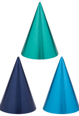 Metallic Shades of Blue Party Hats 12ct