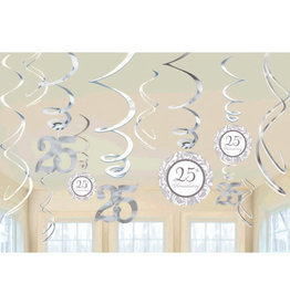 25th Anniversary Hanging Swirl Decorations 12ct