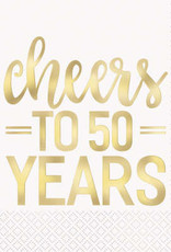 50th Anniversary 'Cheers to 50 Years' Luncheon Napkins 16ct