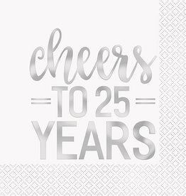 25th Anniversary 'Cheers to 25 Years' Luncheon Napkins 16ct