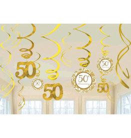 50th Anniversary Hanging Swirl Decorations 12ct