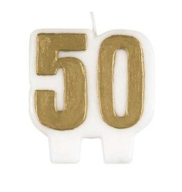 Number '50' Gold Wax Candle