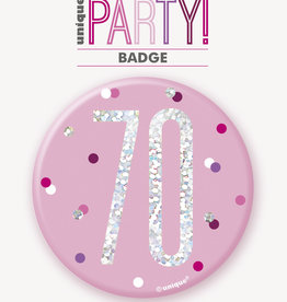 Glitz Pink and Silver 70th Pin