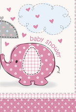 Pink Elephant Baby Shower Beverage Napkins 16ct