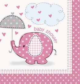 Pink Elephant Baby Shower Beverage Napkins 16ct