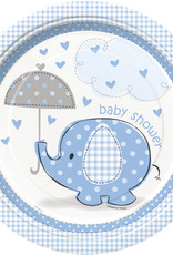 "Blue Elephant Baby Shower 9"" Plates"