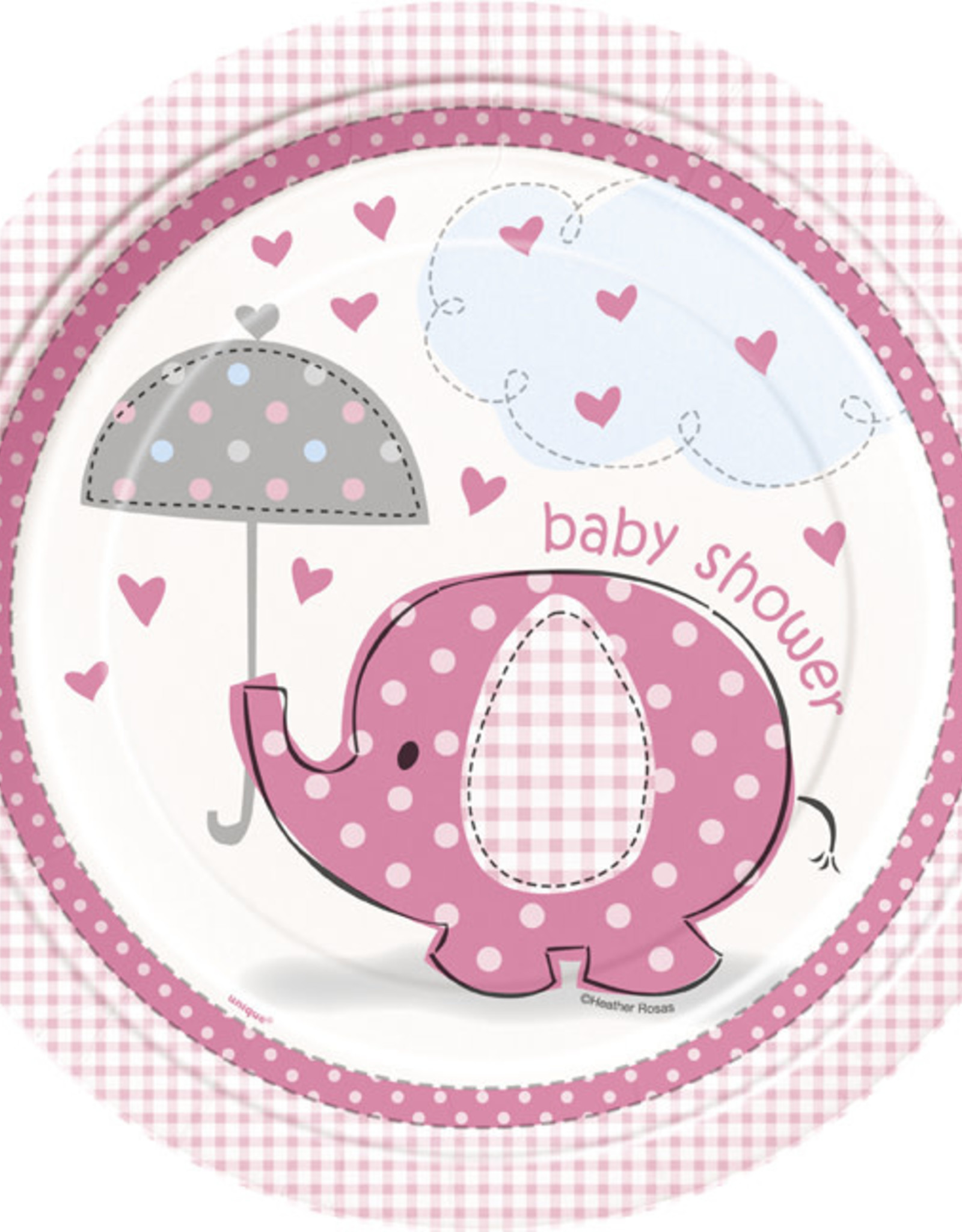 """Pink Elephant Baby Shower 9"""" Plates"""
