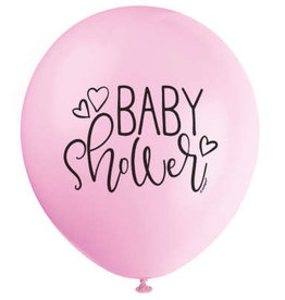 "Petal Pink Baby Shower 12"" Latex Balloons 8ct"