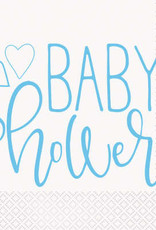 Heart Blue Baby Shower Luncheon Napkins 16ct