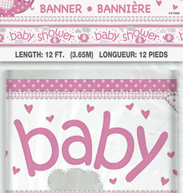 Pink Elephant Baby Shower Banner 12FT