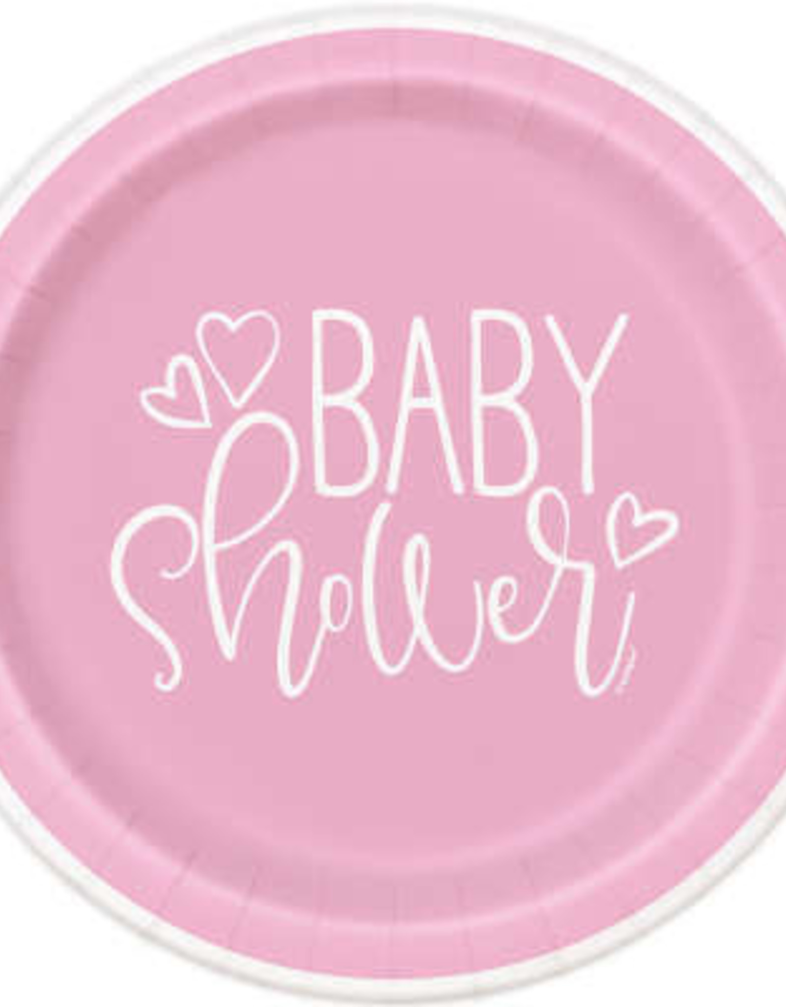 "Pink Hearts Baby Shower 9"" Dinner Plates 8ct"