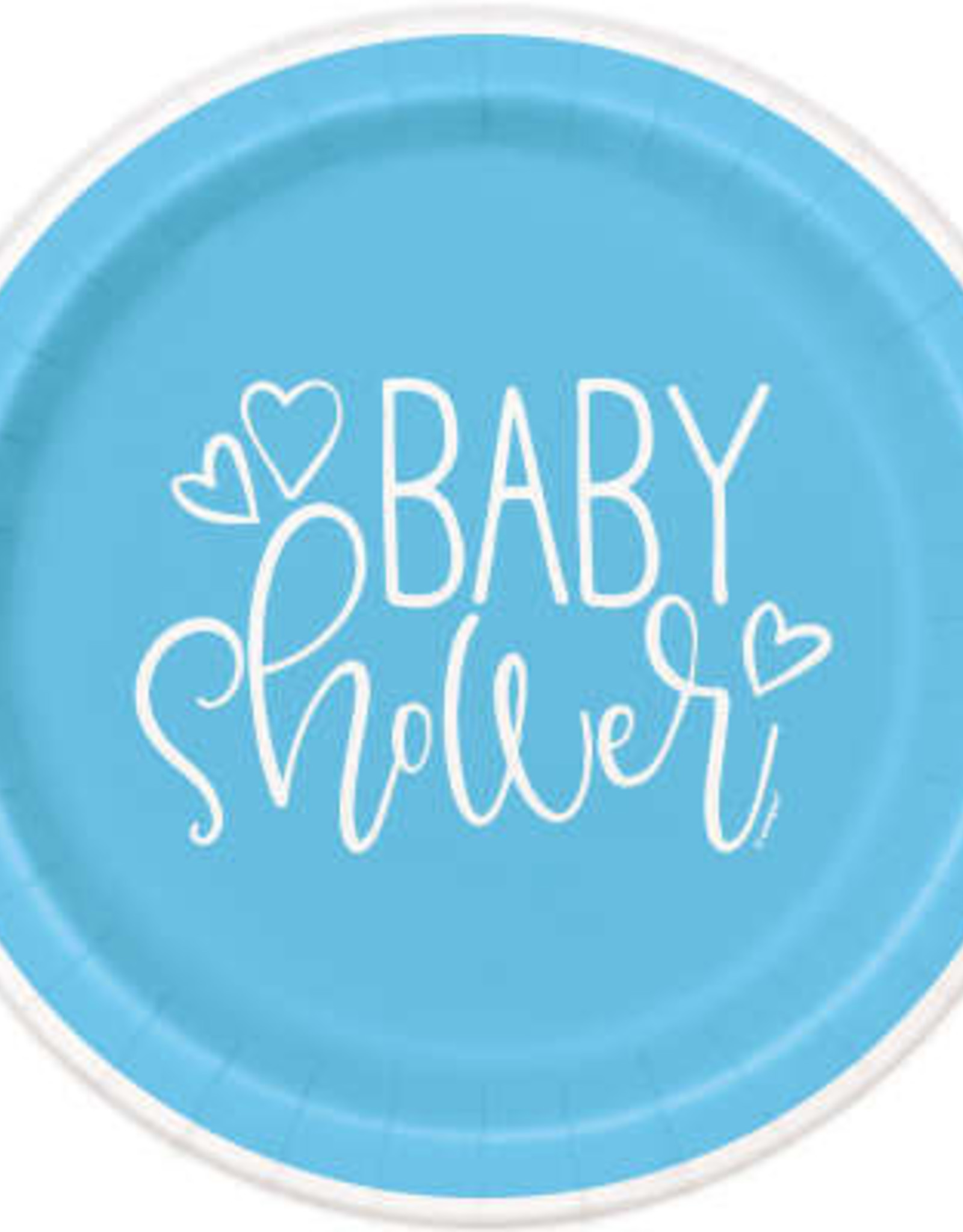 "Blue Hearts Baby Shower 7"" Plate 8ct"