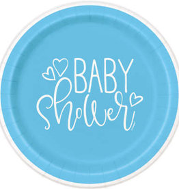"""Blue Hearts Baby Shower 7"""" Plate 8ct"""