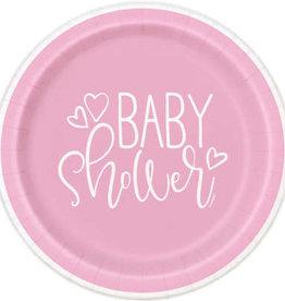 """Pink Hearts Baby Shower 7"""" Dessert Plates 8ct"""