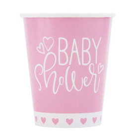 Pink Hearts Baby Shower 9oz Paper Cups 8ct