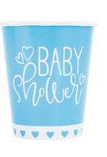 Blue Hearts Baby Shower 9oz Paper Cups 8ct
