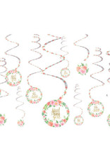 Sweet Baby Girl Swirl Decorations 12ct