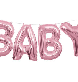 Pink 'BABY' Air Fill Only Balloon Banner