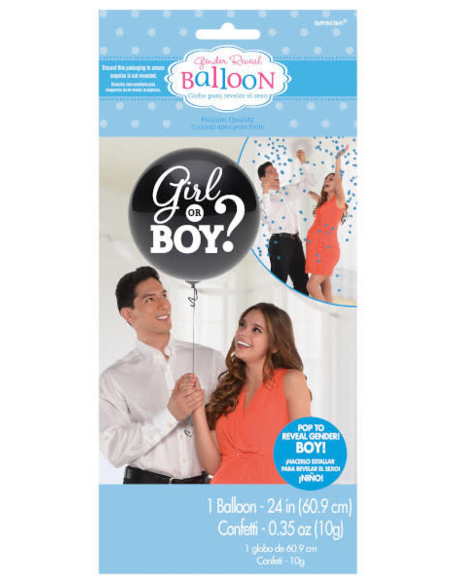"Gender Reveal Latex Balloon 24"" - Blue Confetti"