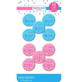 Team Girl Or Boy Gender Reveal Pins 10ct