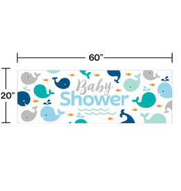 Whale Blue Baby Shower Banner 5FT
