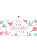 Pink Whale Baby Shower Banner 5FT