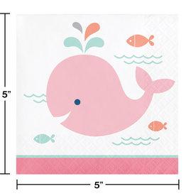 Pink Whale Beverage Napkin 16ct