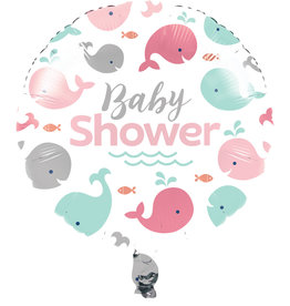 Pink Whale Baby Shower Foil Balloon 18""