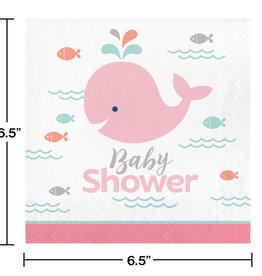 Pink Whale Luncheon Napkins 16ct