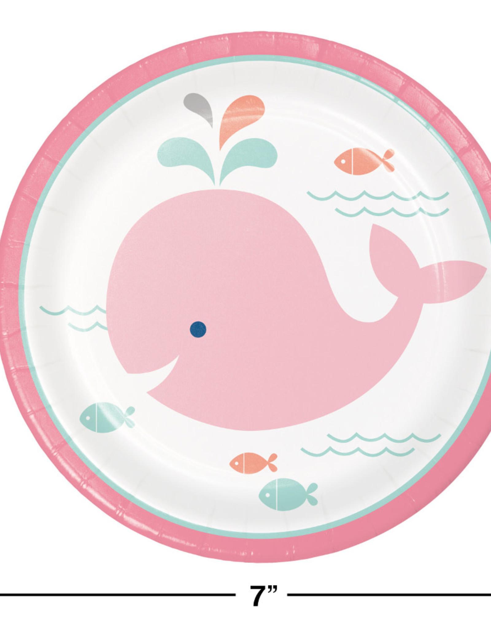 "Pink Whale Dessert Plates 7"""