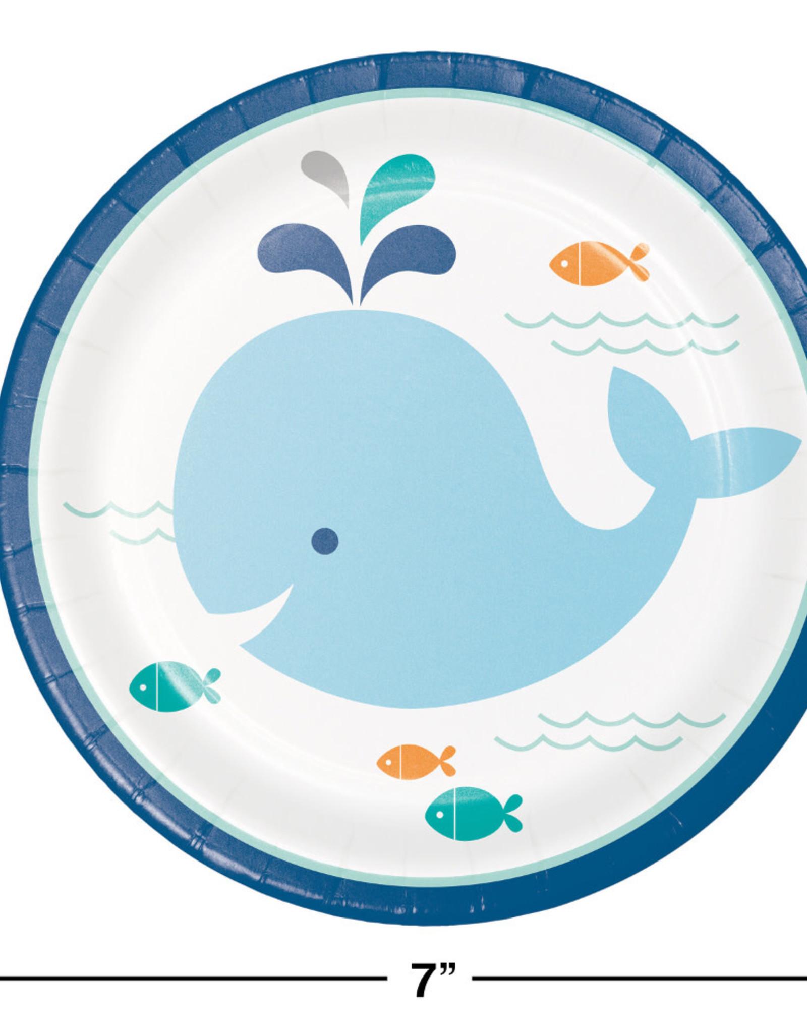 "Blue Whale Baby Shower Dessert Plates 7"""