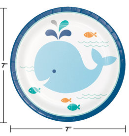 Blue Whale Baby Shower Dessert Plates 7""