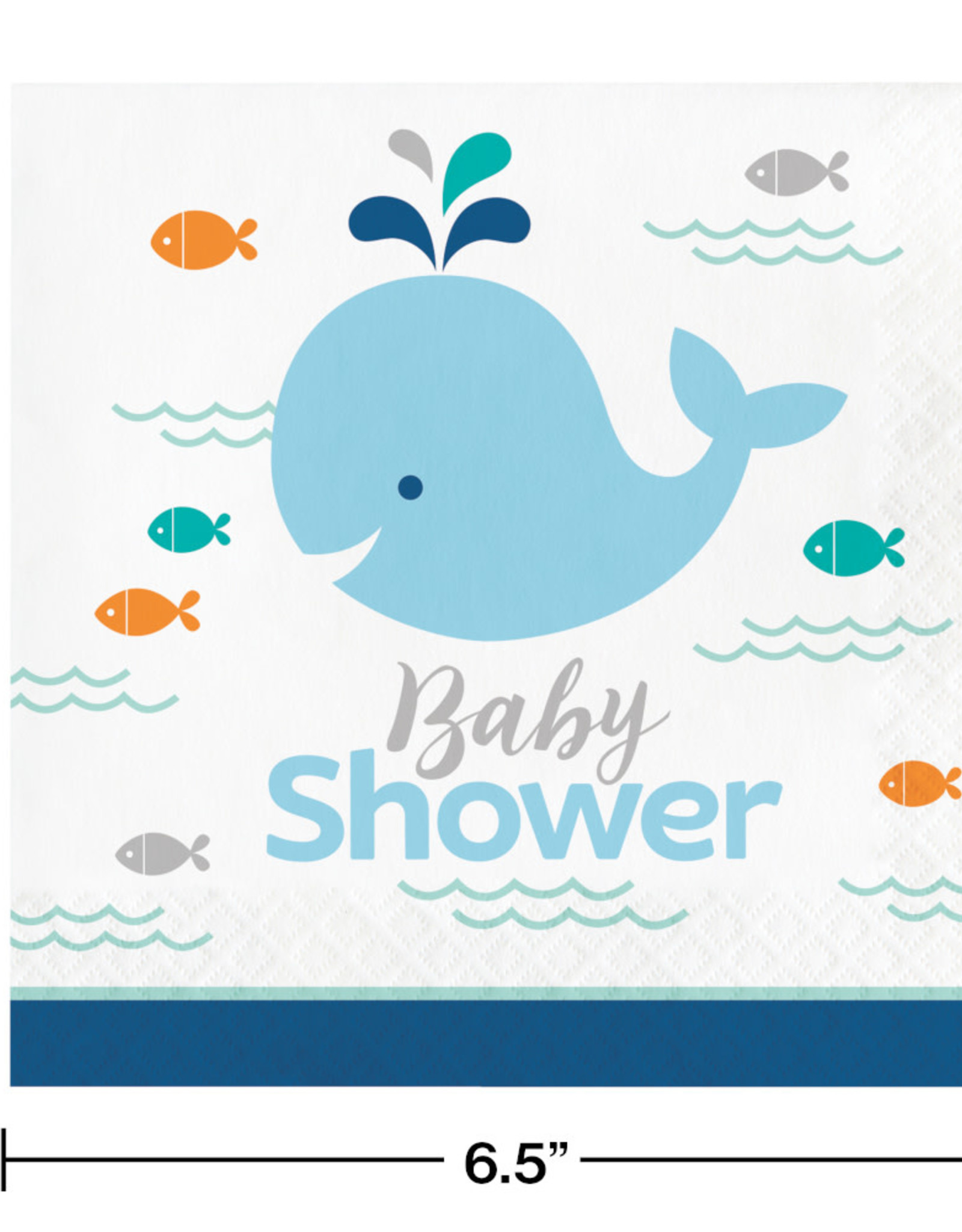 Blue Whale Baby Shower Luncheon Napkins