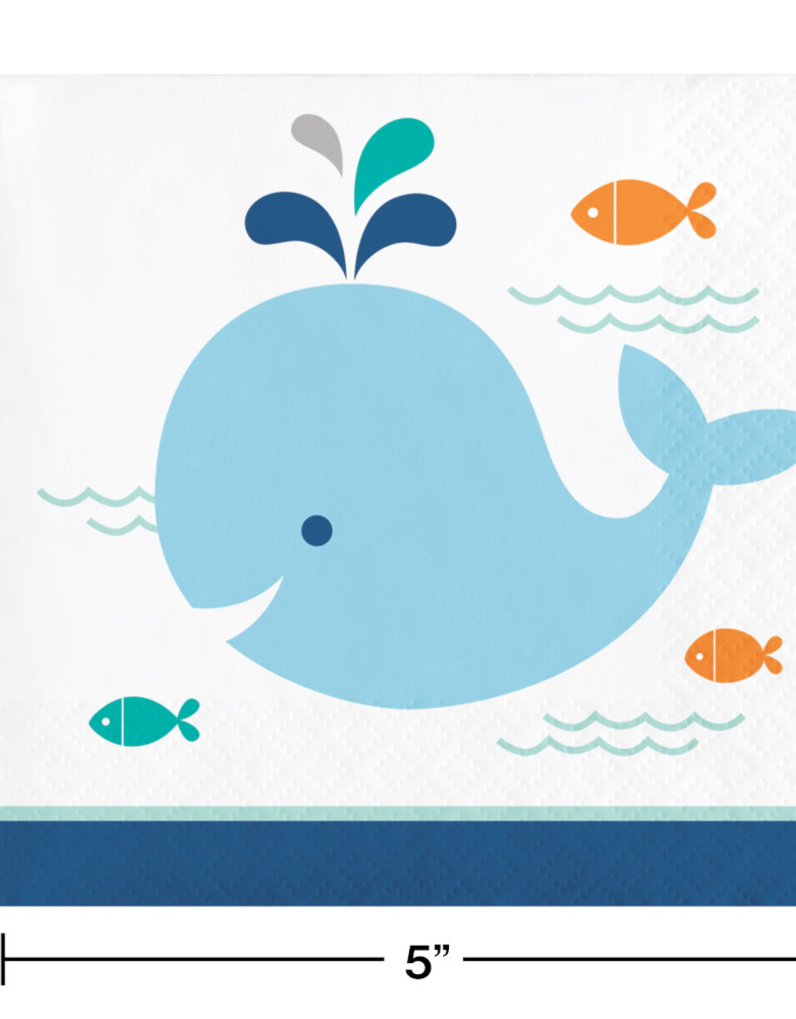 Blue Whale Baby Shower Beverage Napkins