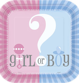 "Gender Reveal Square 9"" Dinner Plates 8ct"