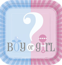 "Gender Reveal Square 7"" Dessert Plates 10ct"