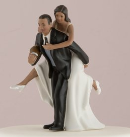 Playful Bride and Groom Football Cake Topper