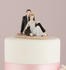 Couple Lounging On Beach Cake Topper