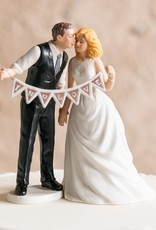 Shabby Chic Groom Porcelain Figurine Wedding Cake Topper With Pennant Sign