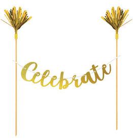'Celebrate' Gold Cake Topper Banner