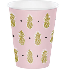 Pink Pineapple Paper Cups 8CT