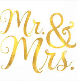 Mr and Mrs Gold Beverage Napkins 16ct