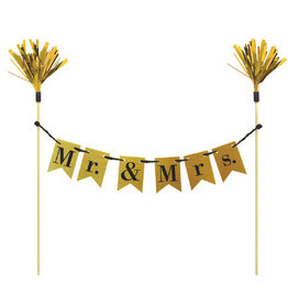 Mr and Mrs Gold Cake Topper Banner