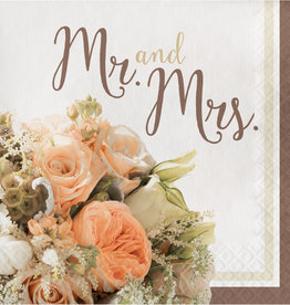 Mr and Mrs Luncheon Floral Napkins 16CT