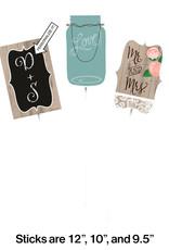 Bridal Rustic Centerpiece Sticks 3CT