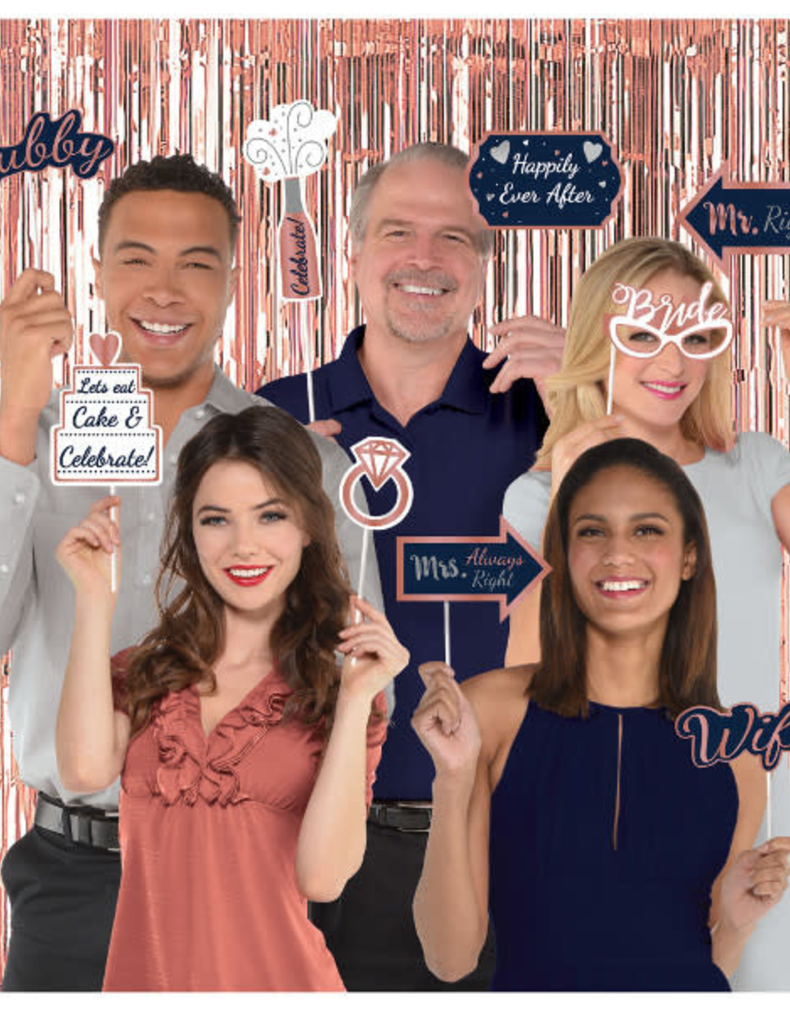 Navy and Rose Gold Wedding Photo Booth Kit