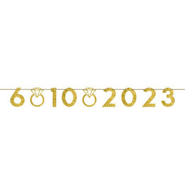 Gold Glittery Customizable Wedding Date Banner