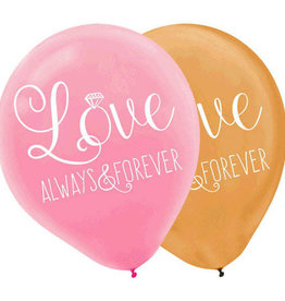 "Pink and Gold Love Always And Forever 12"" Latex Balloon 6pk"