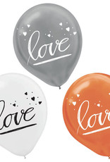 """Gold, Silver and White 'Love' 12"""" Latex Balloons 15 pk"""